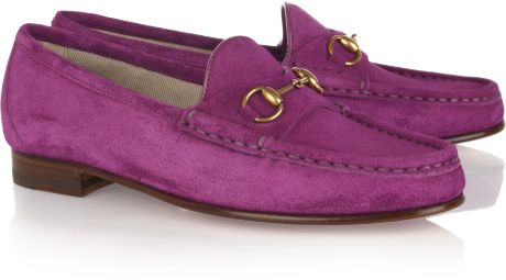 Gucci Horsebitdetailed Suede Loafers in Purple (fuchsia)
