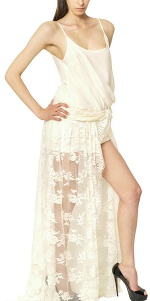 Jay Ahr Lace On Silk Muslin Jersey Long Dress in Beige (ivory)