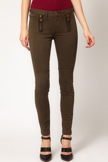 River Island Erin Coloured Skinny Jeans with Zip Detail - Lyst