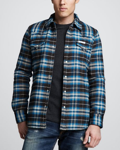 True religion sherpa lined plaid jacket in blue for men for Sherpa lined plaid shirt