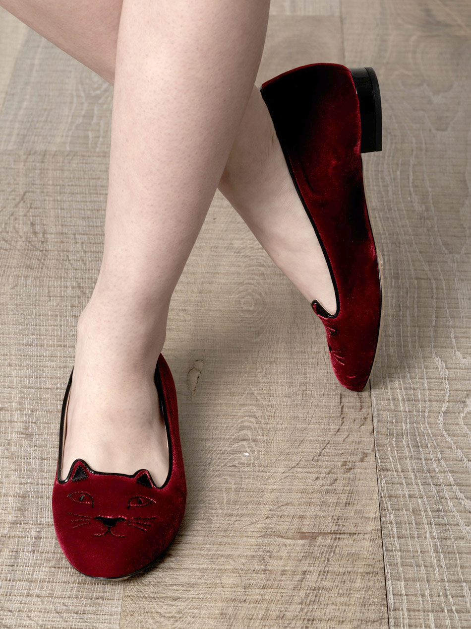 Charlotte Olympia Velvet Kitty Flats in Red - Lyst