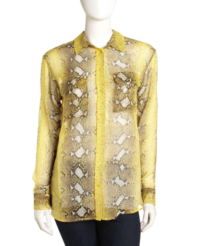 Equipment Daddy Snakeprint Silkchiffon Shirt In Yellow Lyst
