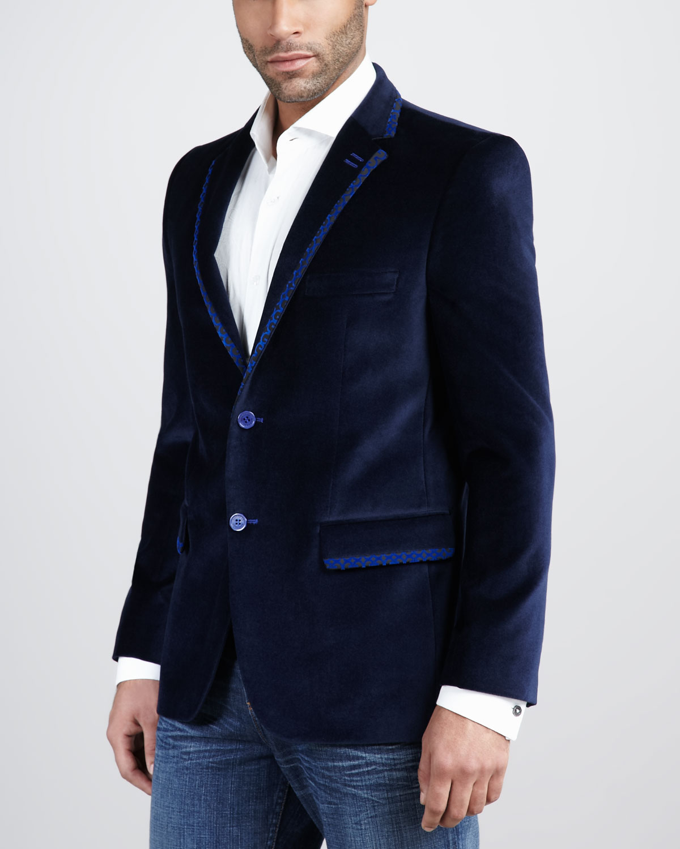Bogosse Thomas Velour Blazer In Blue For Men Lyst