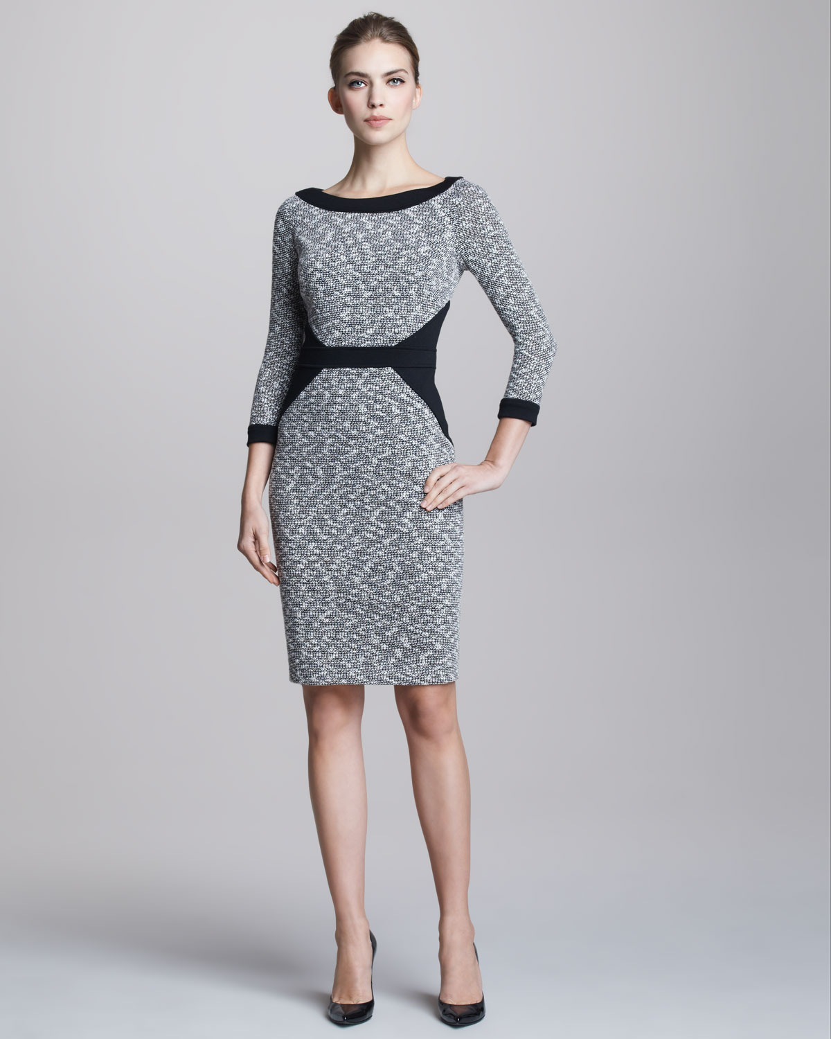 Lyst David Meister Tweed Contour Dress In Gray