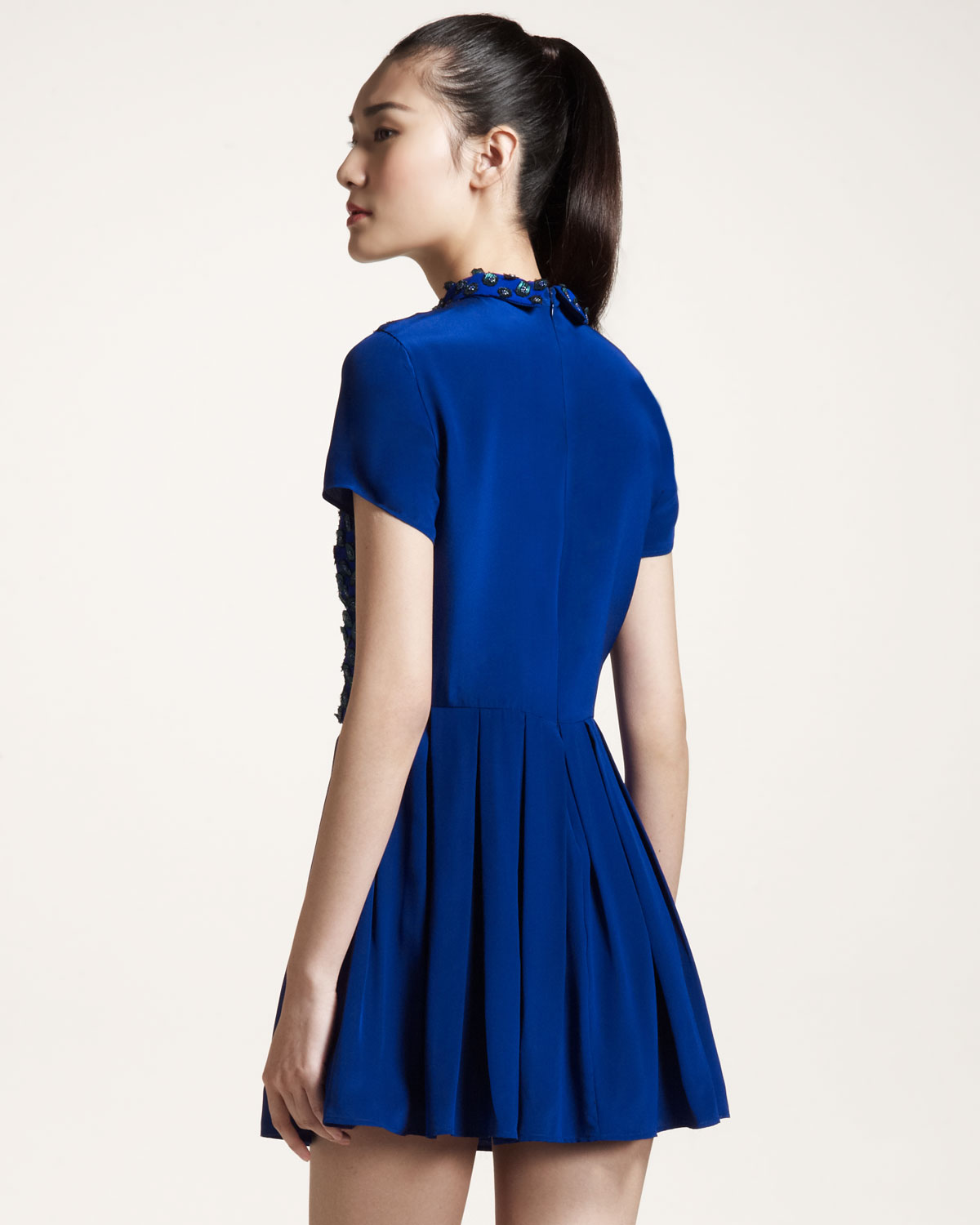 Opening Ceremony Fall 2015: Opening Ceremony Beadfront Dress In Blue