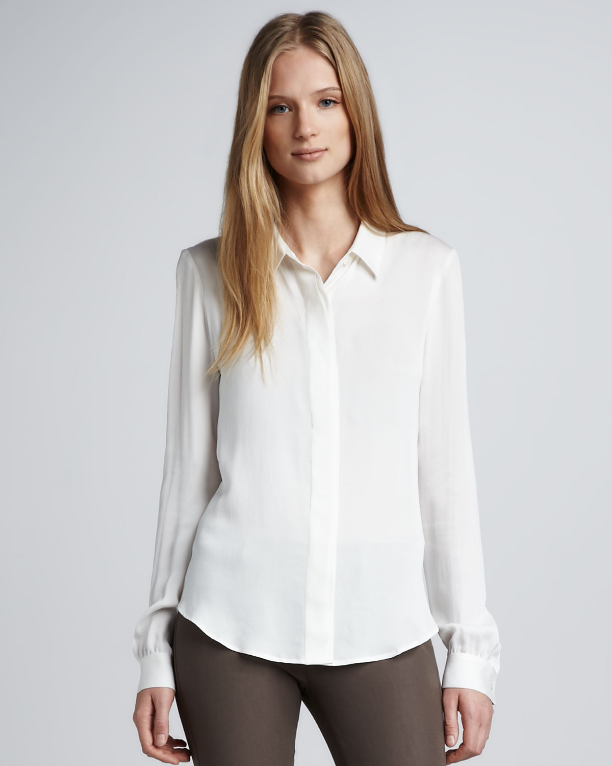 1f1a3e419f1c Theory Silk Blouse in White - Lyst