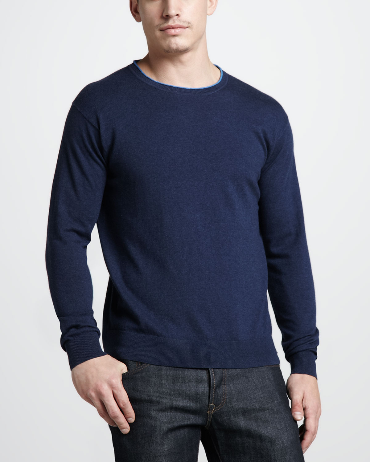 Zegna sport Cottoncashmere Crewneck Sweater Navy in Blue for Men ...