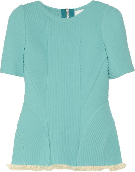 3.1 Phillip Lim Fringed Corded Chiffon Top in Blue (turquoise)