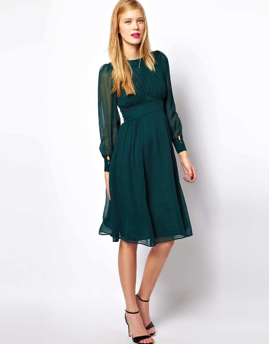Lyst Asos Midi Dress With Gathered Front In Green