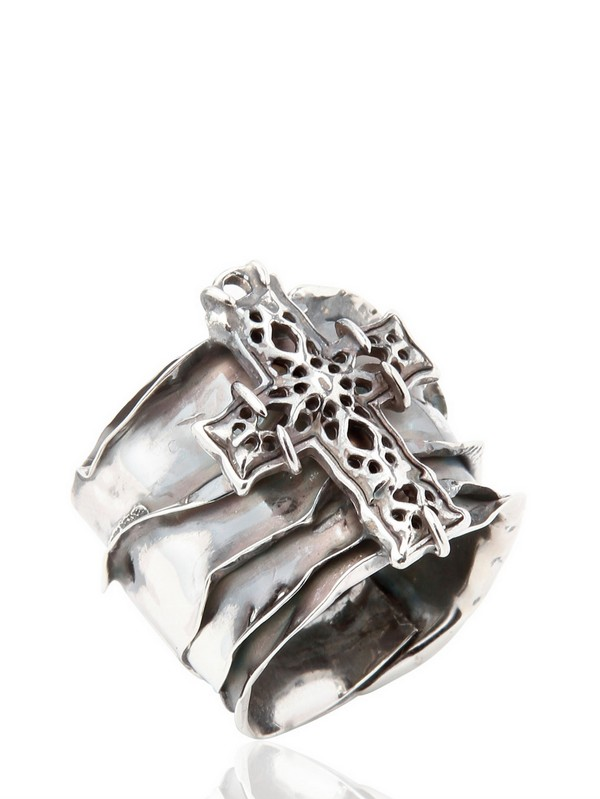 Emanuele Bicocchi Sterling Silver Perforated Cross Ring in Metallic for Men