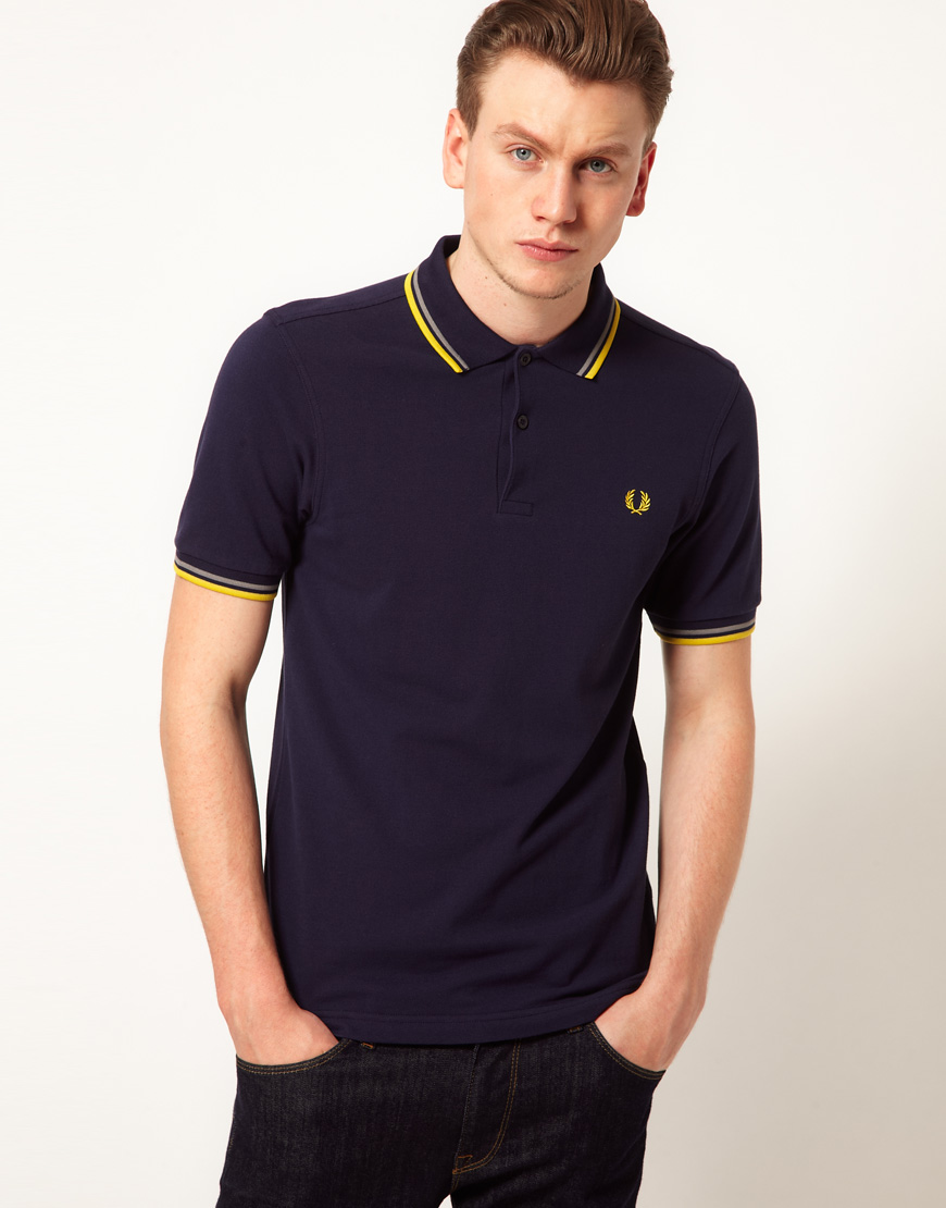 fred perry slim polo with fit twin tip in blue for men. Black Bedroom Furniture Sets. Home Design Ideas