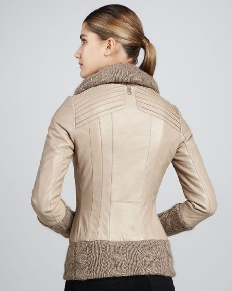 Mackage Domina Knit Leather Jacket In Brown Black Lyst