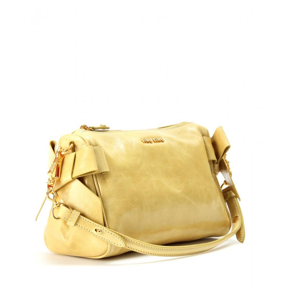 f7b441fac9 Lyst - Miu Miu Bow Glazed Leather Bag in Yellow