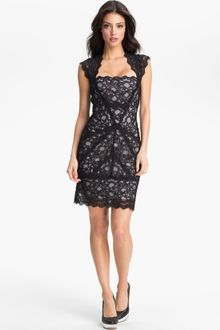 Long Sleeve Black Lace Dress on Nicole Miller Lace Fitted Cap Sleeve Lace Sheath Dress   Lyst