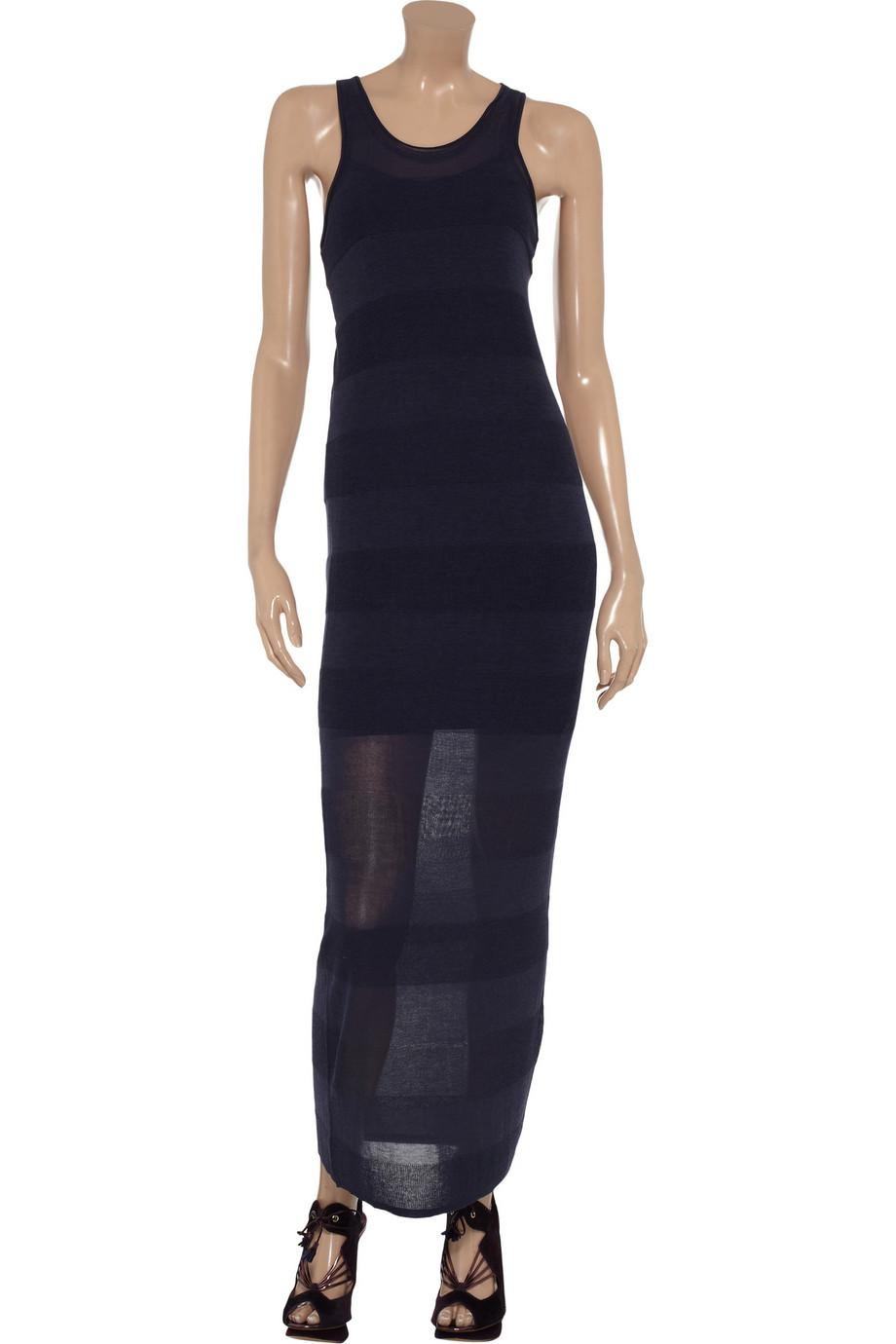 T by alexander wang Striped Fineknit Maxi Dress in Blue | Lyst