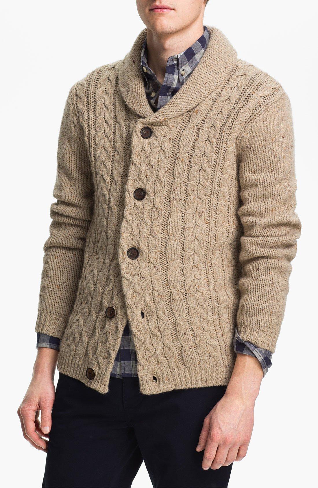 Knitting Pattern Cardigan Shawl Collar : Topman Cable Knit Shawl Collar Cardigan in for Men (color ...