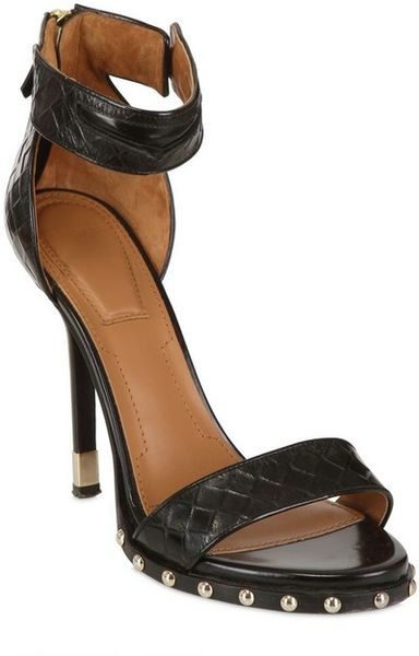 Givenchy 115mm Printed Weave Leather Sandals In Black Lyst