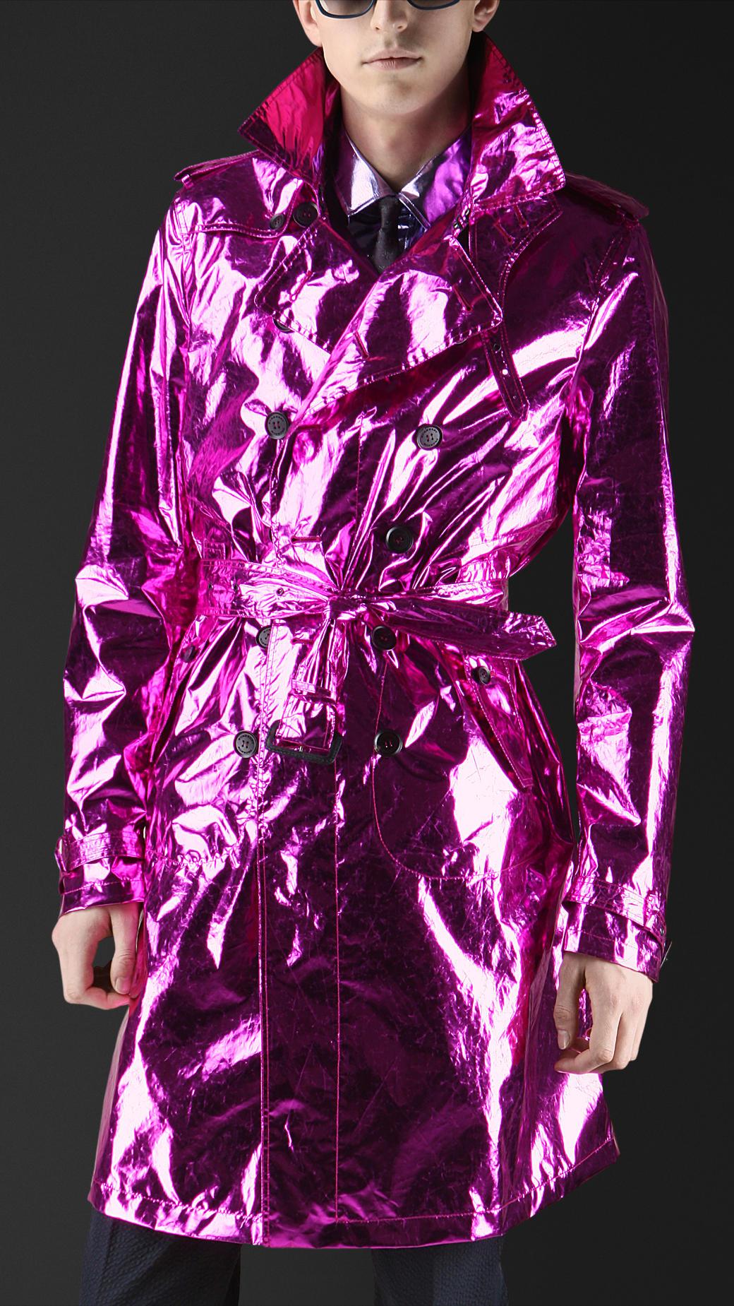Burberry prorsum Metallic Silk Trench Coat in Purple for ...