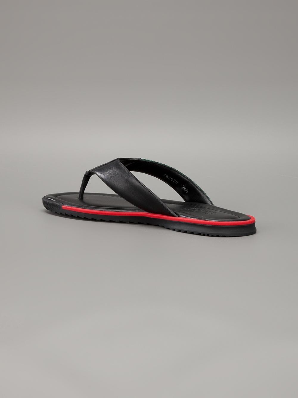 Gucci Stripe Detail Flip Flops In Black For Men - Lyst-7384