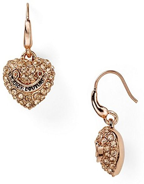 juicy couture pav heart drop earrings in gold pink gold. Black Bedroom Furniture Sets. Home Design Ideas