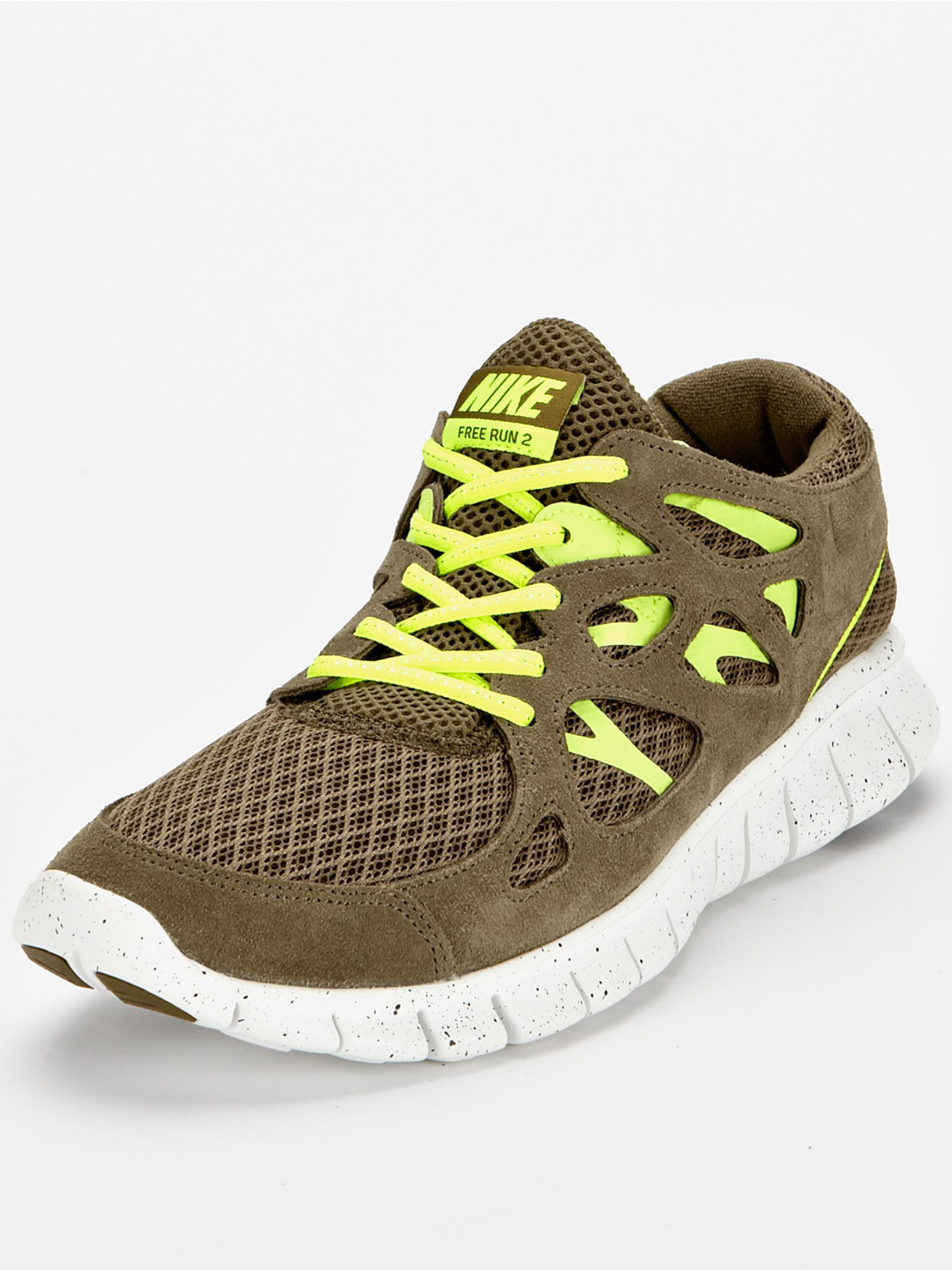 nike nike free run 2 mens trainers in khaki for men lyst. Black Bedroom Furniture Sets. Home Design Ideas