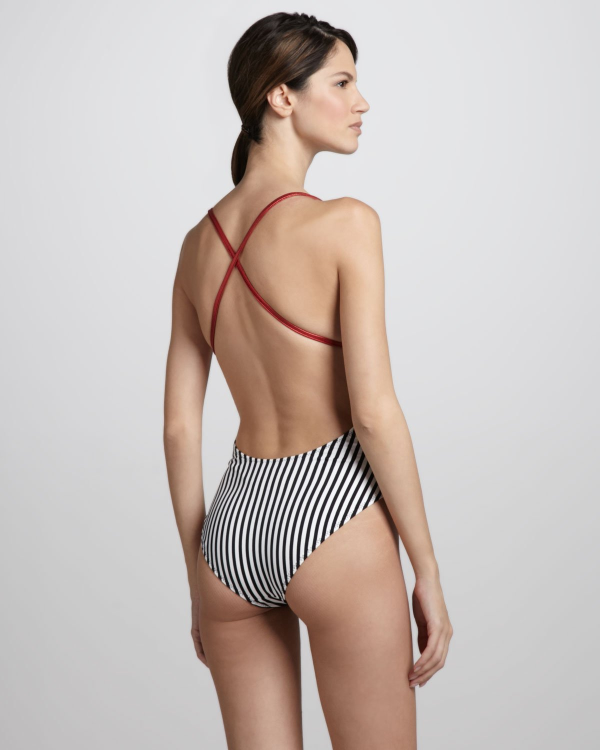 0d6c429610e Norma Kamali Mio Striped One-Piece Swimsuit in Gray - Lyst