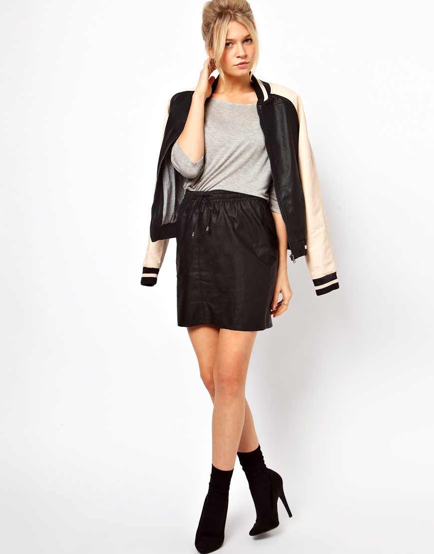 oasis leather look skirt with drawstring in black lyst