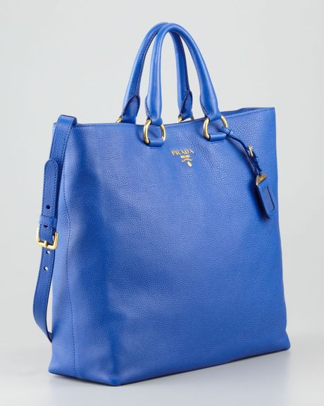 Prada Daino Pebbled Leather Tote Bag in Blue (azzurro blue))