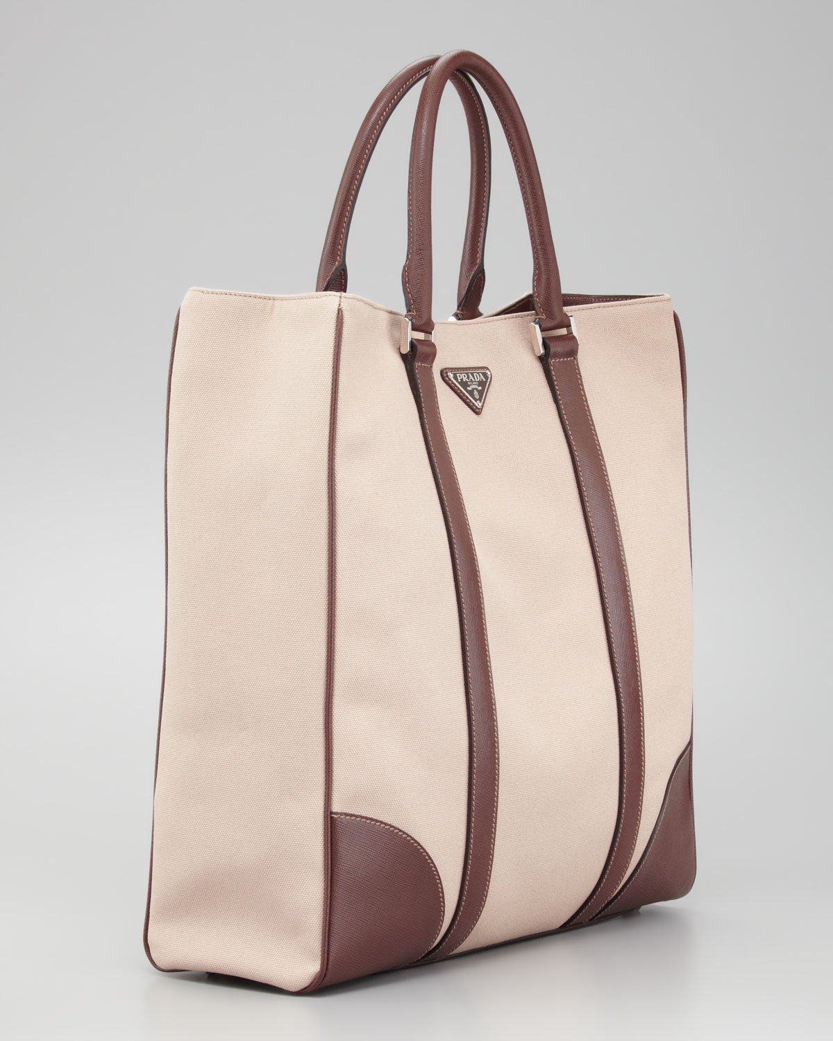 Prada Canvas Leather Tote Bag in Natural for Men | Lyst