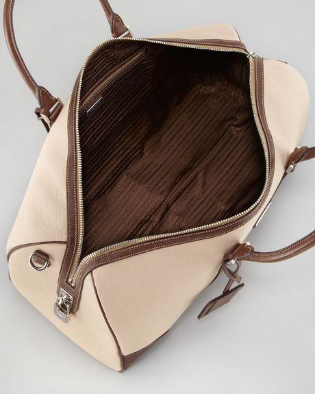 6ca412041538 Prada Canvas Leather Trim Duffle Bag in Beige for Men (beige brown) | Lyst