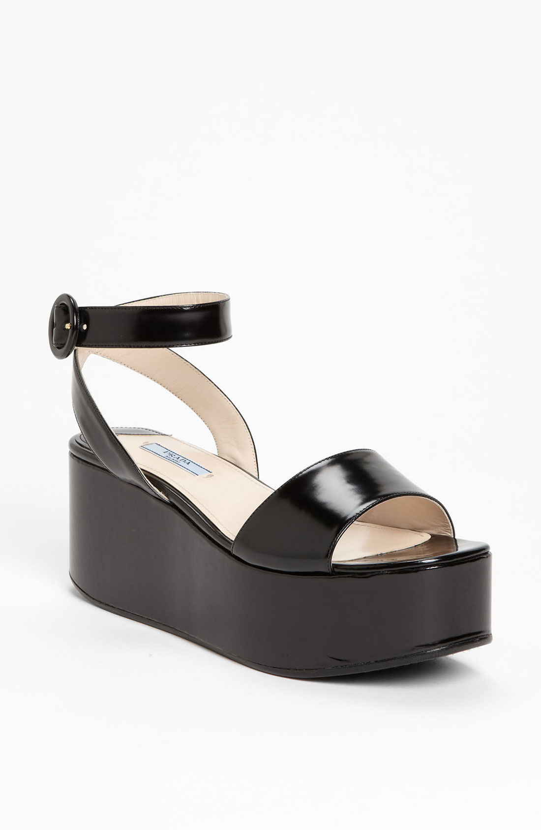 Prada Ankle Strap Wedge Sandal in Black | Lyst