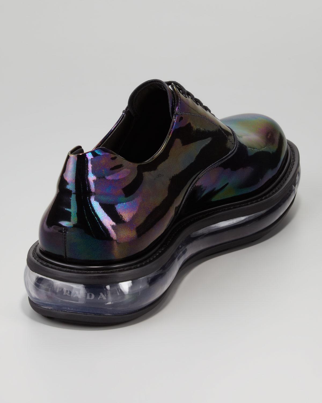 Lyst Prada Oil Slick Iridescent Laceup Shoe In Black For Men