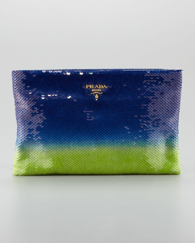 413e10b914b7 Prada Degrade Sequin Pouch Clutch Bag in Green - Lyst