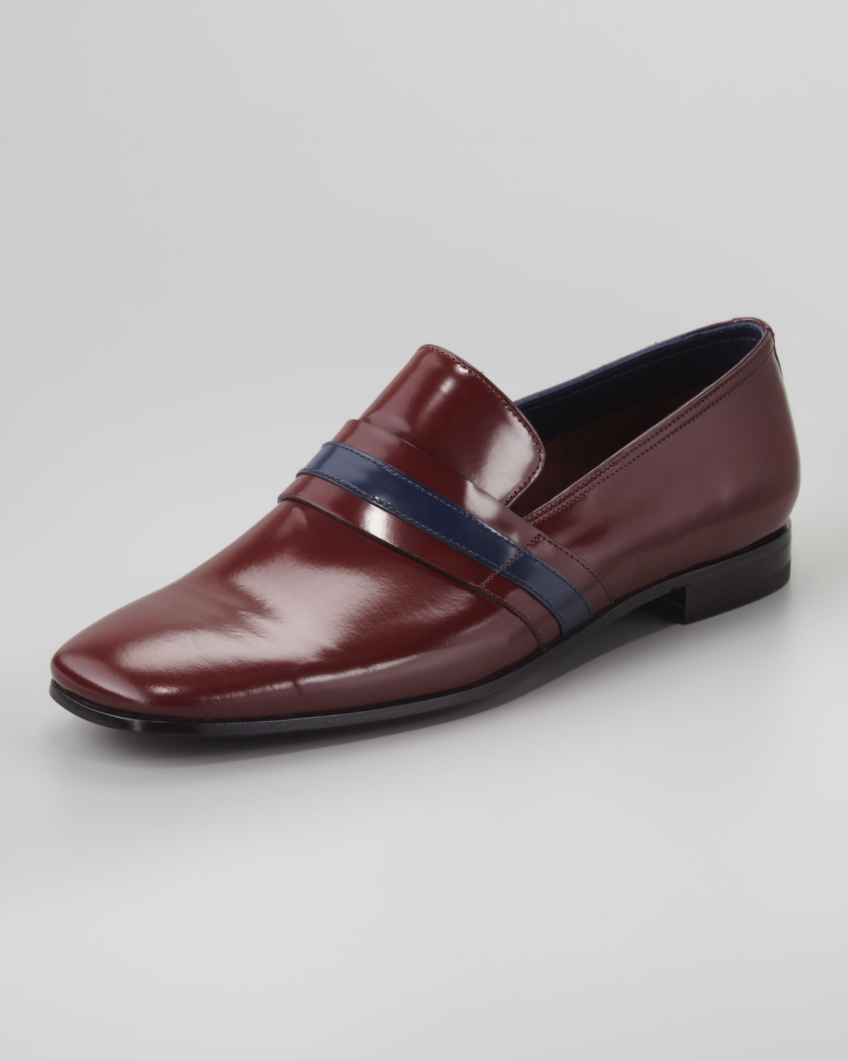 Prada Runway Striped Leather Loafer In Red For Men (bordeaux Blue) | Lyst