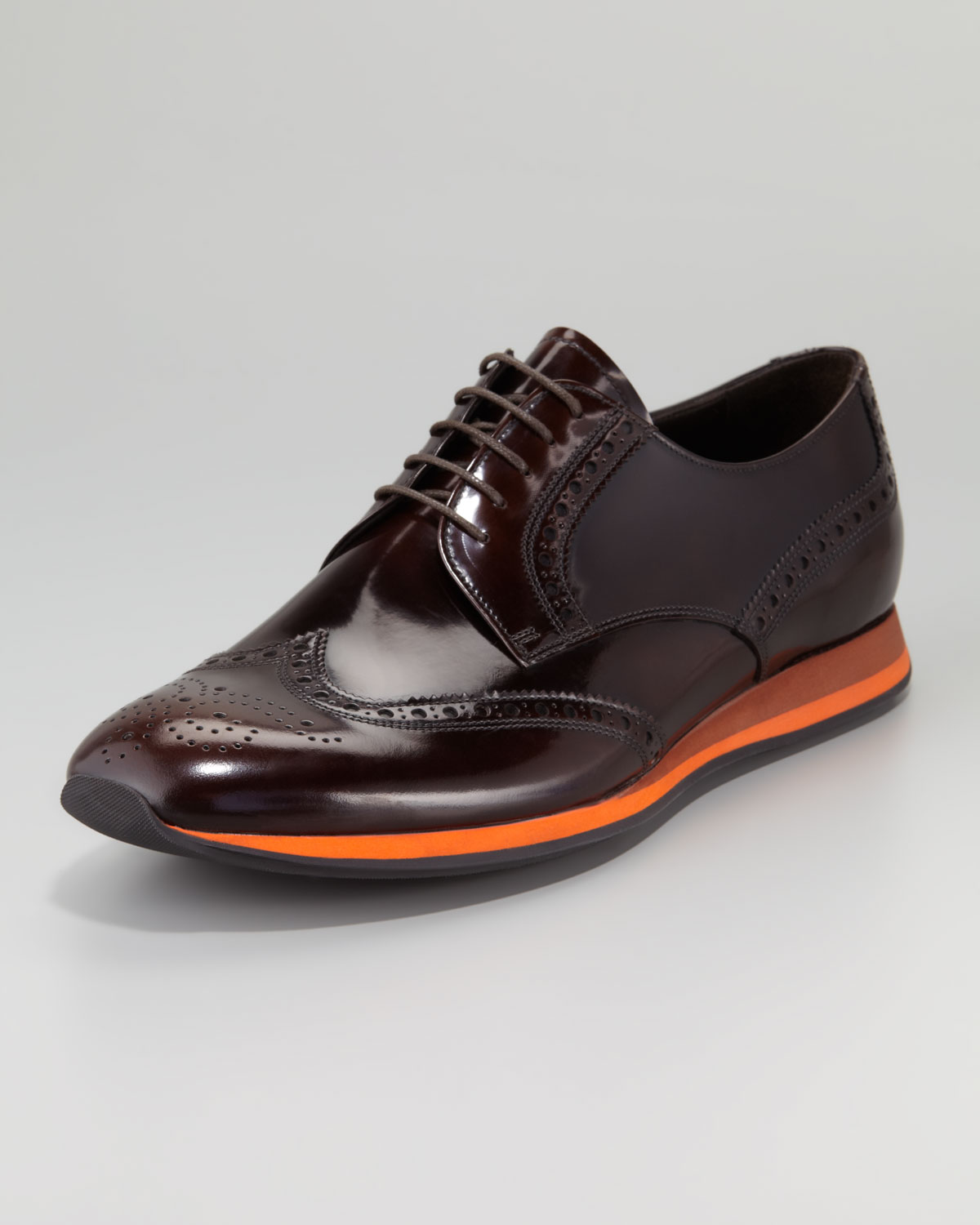 prada contrast sole wing tip shoe in brown for lyst