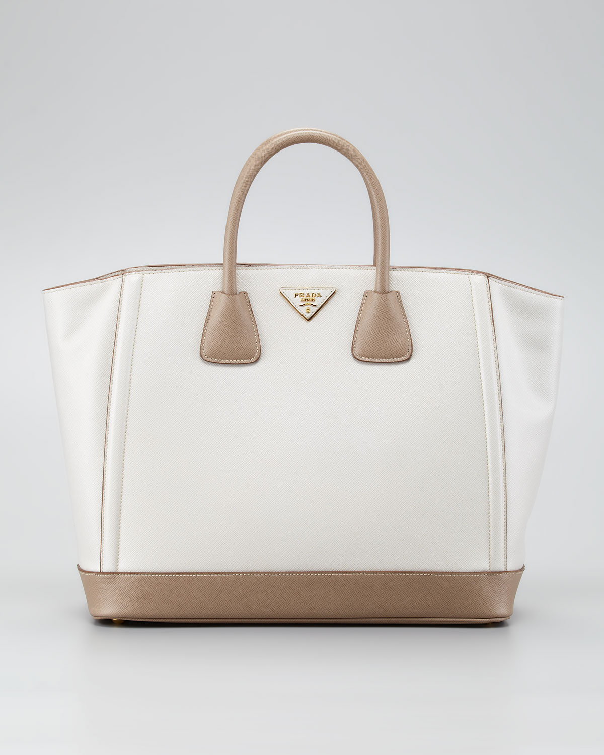 6f3725bfe0ac Prada Saffiano Large Bicolor Tote Bag in Natural - Lyst