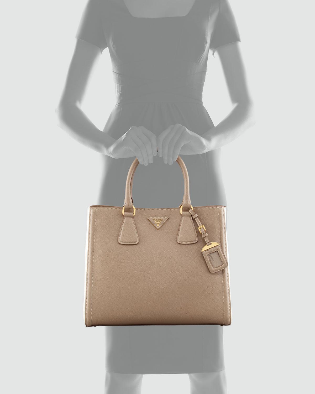 Prada Saffiano Twotone Tote Bag in Brown (visone talcom)   Lyst