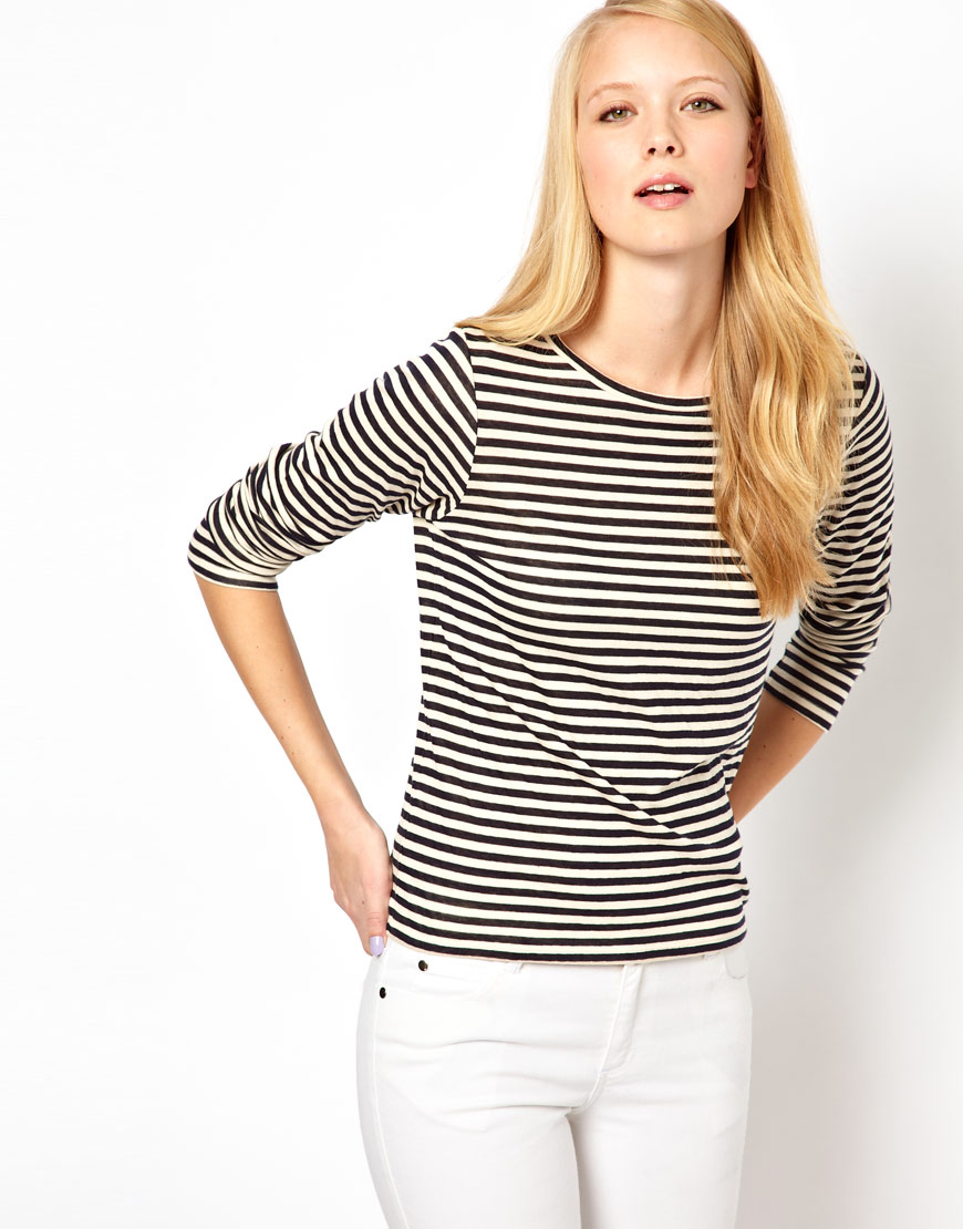 Whistles edie double face jersey stripe long sleeve t Striped long sleeve t shirt