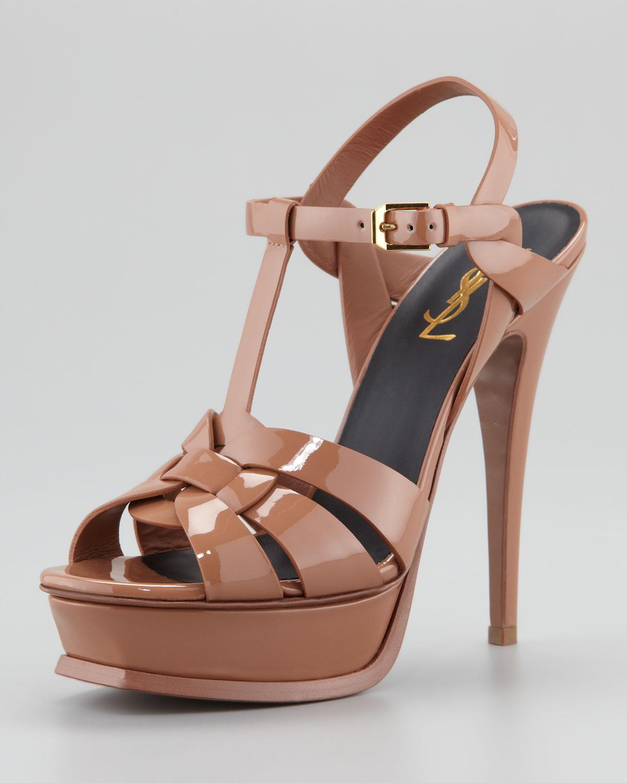 YVES SAINT LAURENT Patent Tribute Platform Sandals Nude