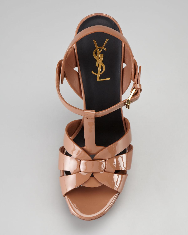 Saint Laurent Tribute Patent Leather Sandal, Dark Nude, 4