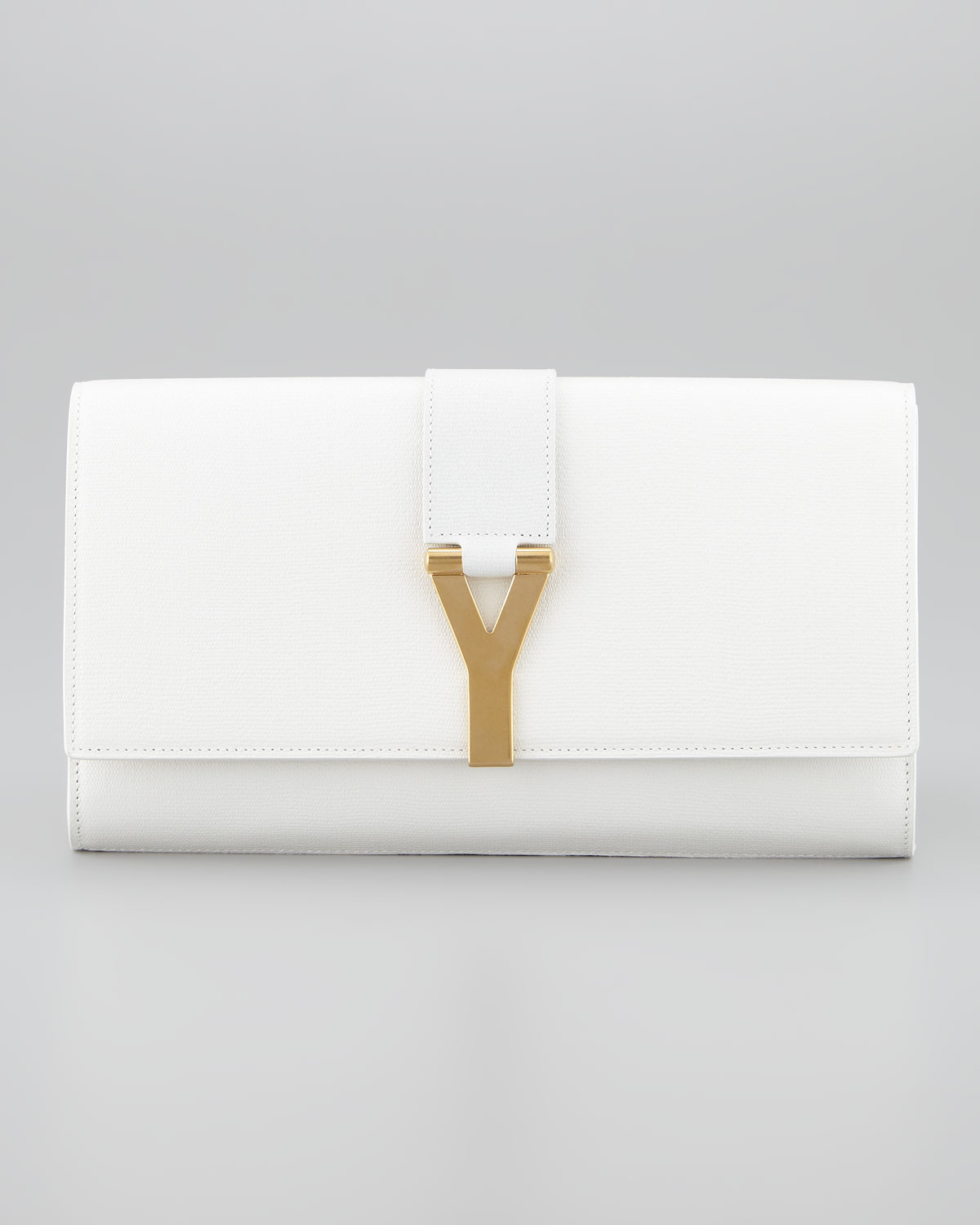 Saint laurent Cabas Chyc Clutch Bag in White (off white) | Lyst