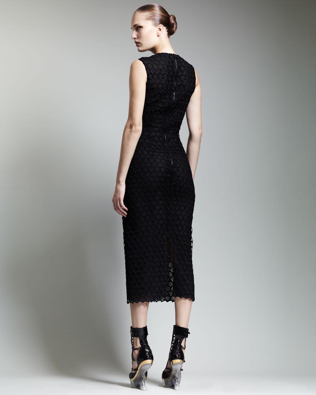 Alexander Mcqueen Belowknee Macrame Sheath Dress In Black