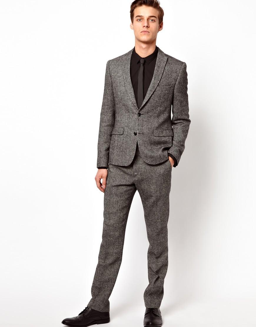 Asos slim fit suit pant in herringbone in black for men blackwhite