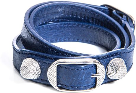Balenciaga Studded Leather Bracelet in Blue (navy)