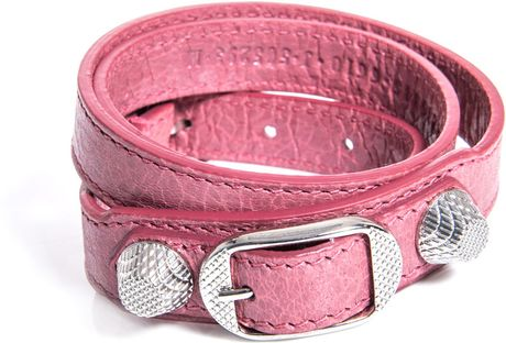Balenciaga Studded Leather Bracelet in Pink (rose)