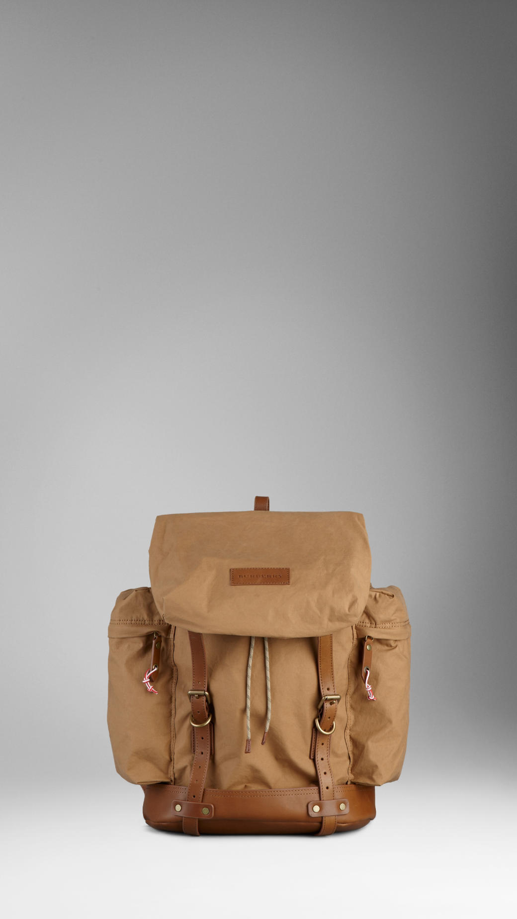 Burberry Leather Trim Backpack in Brown for Men | Lyst