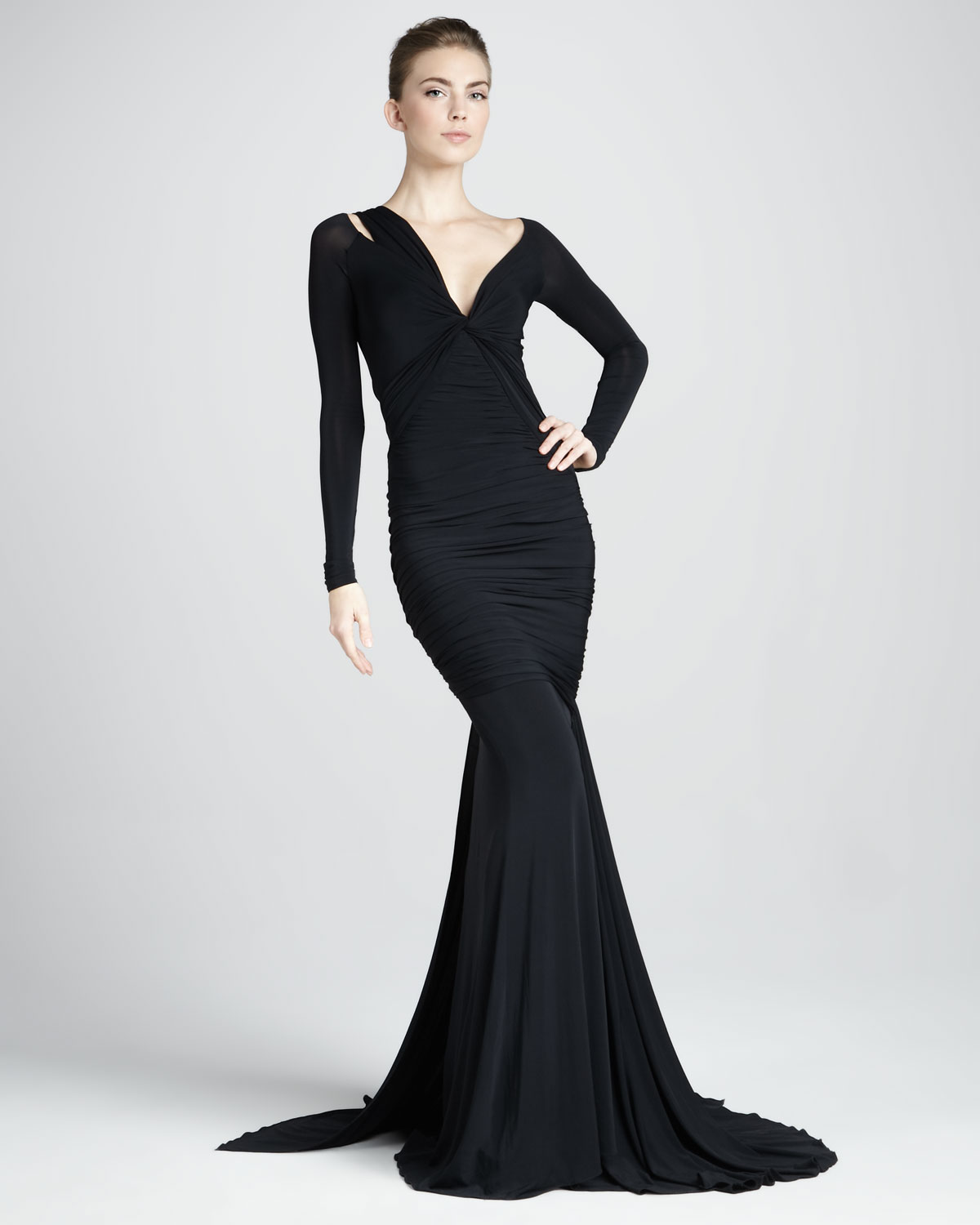 Lyst - Donna Karan Long-sleeve Mermaid Jersey Gown in Black