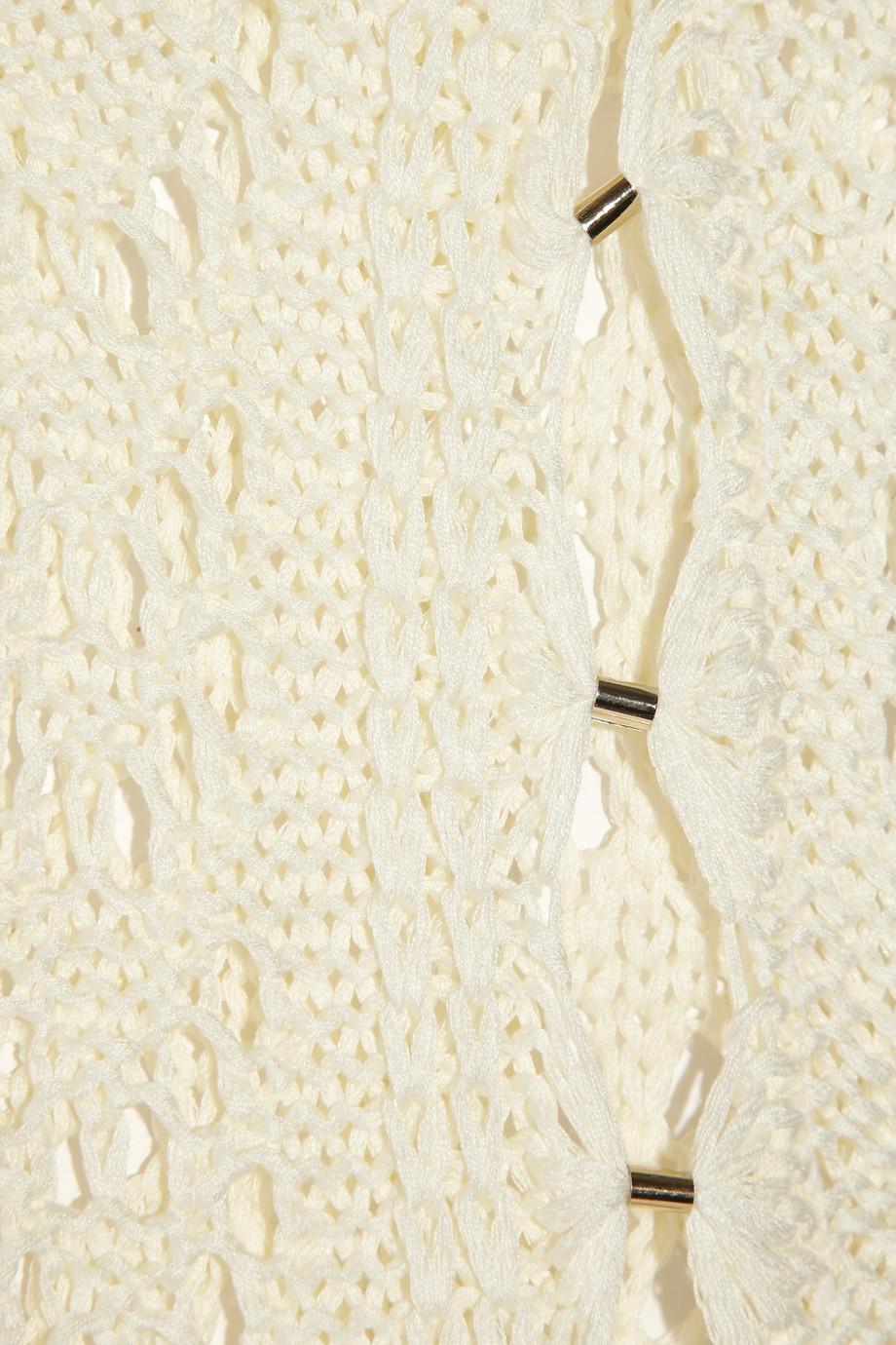 Emilio Pucci Crochet Knit Cotton Maxi Dress In Cream