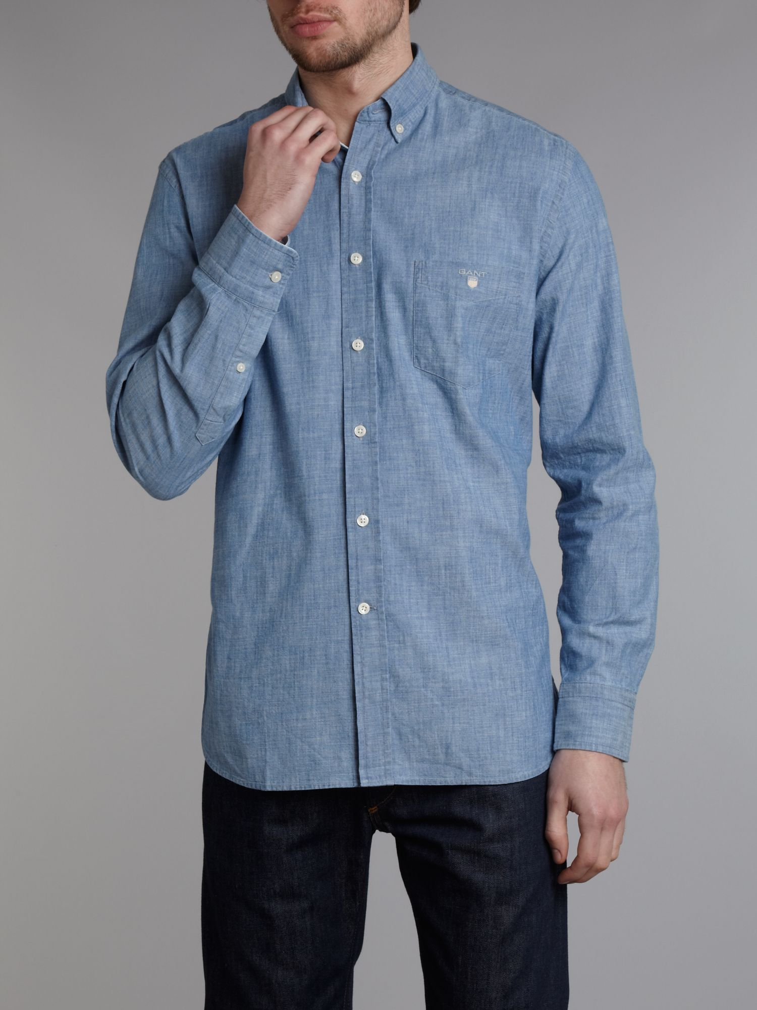 Gant long sleeve chambray shirt in blue for men lyst for Chambray long sleeve shirt
