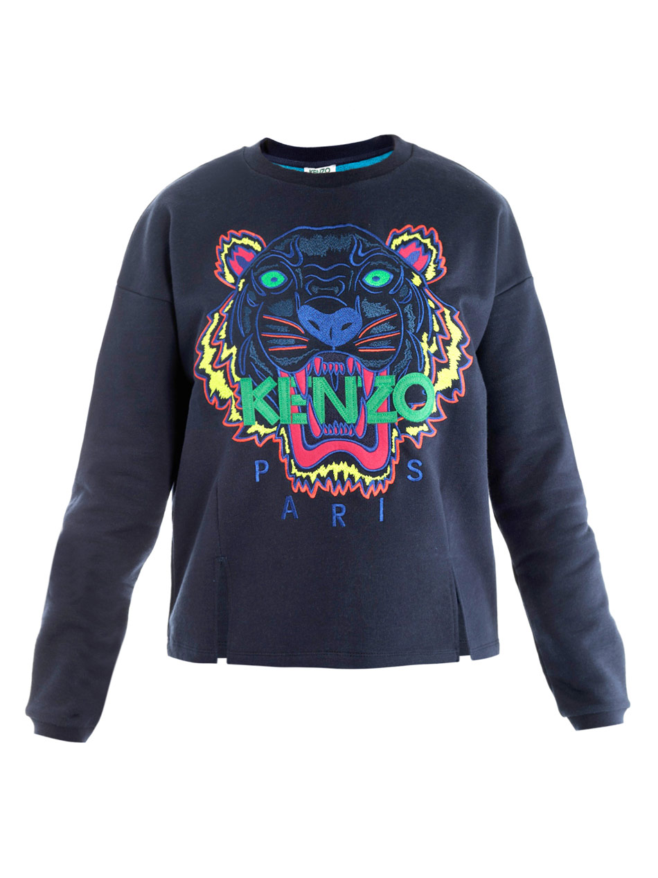 kenzo tiger embroidered sweater in blue tiger lyst. Black Bedroom Furniture Sets. Home Design Ideas